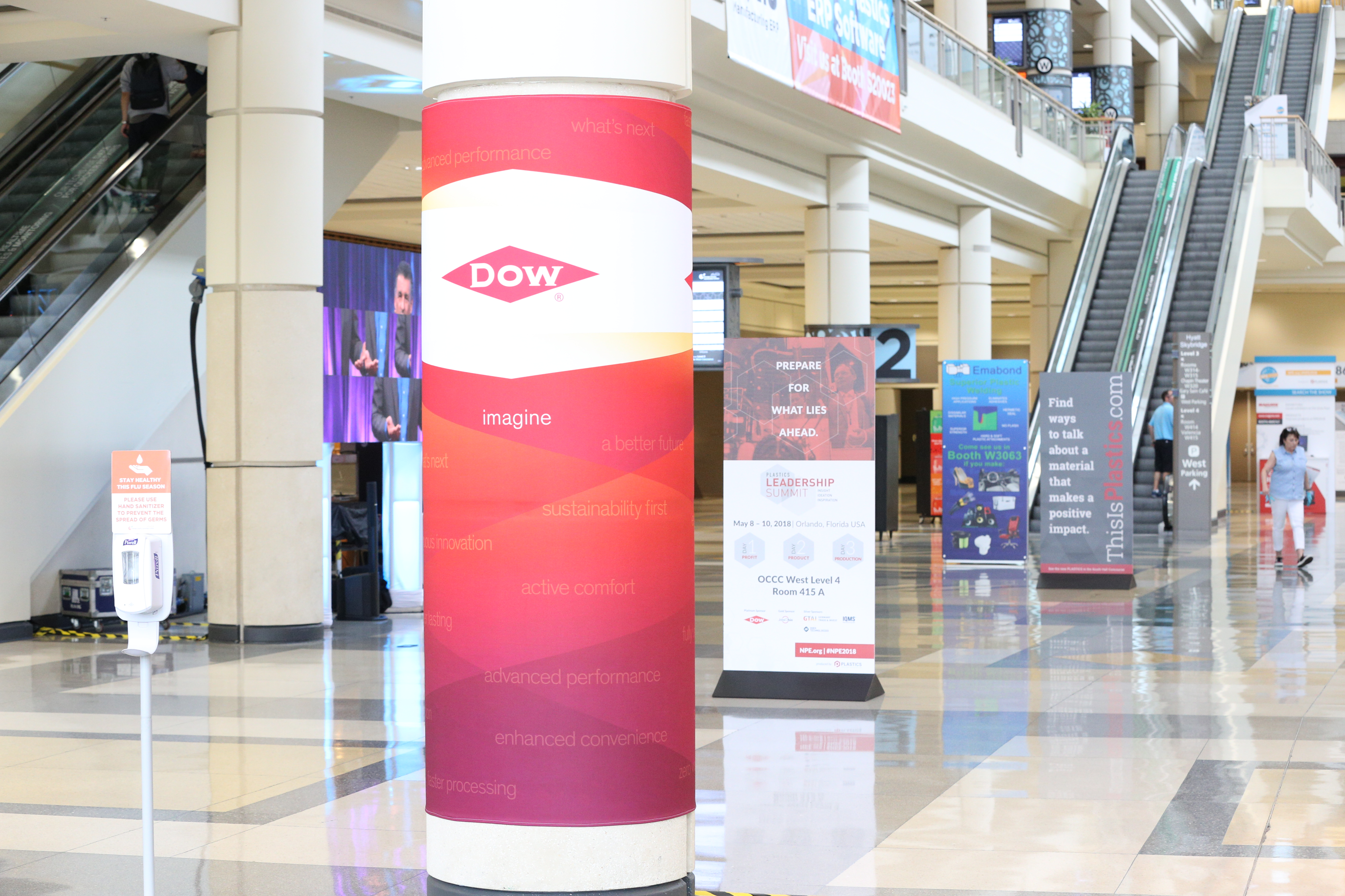 A sponsorship column wrap in the food court at Orange County Convention Center.