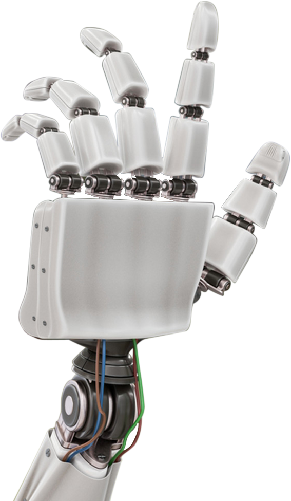 A graphic of a modern robotic hand made of plastics.